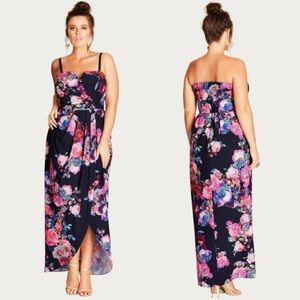 City Chic   Romantic Rose Maxi Dress Floral Slit